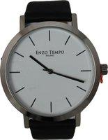 Enzo Tempo heren horloge - Zwart/wit grote wijzerplaat