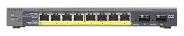 Netgear ProSAFE Smart Switch - GS110TP - 8 Power over Ethernet (PoE) poorten met 2 Gigabit Fiber SFP