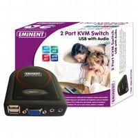 Eminent 2 Port KVM Switch USB w/ Audio Zwart KVM-switch