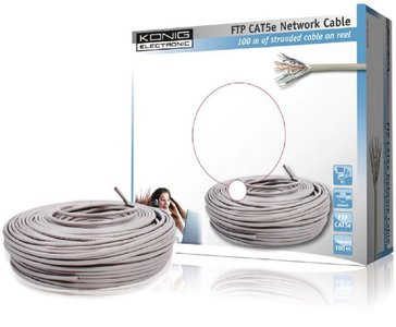 König CMP-FTP5R100S 100m Cat5e F/UTP (FTP) Grijs netwerkkabel
