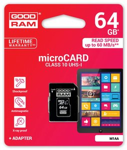 Goodram Micro SD + Adapter 64GB Class10 UHS I